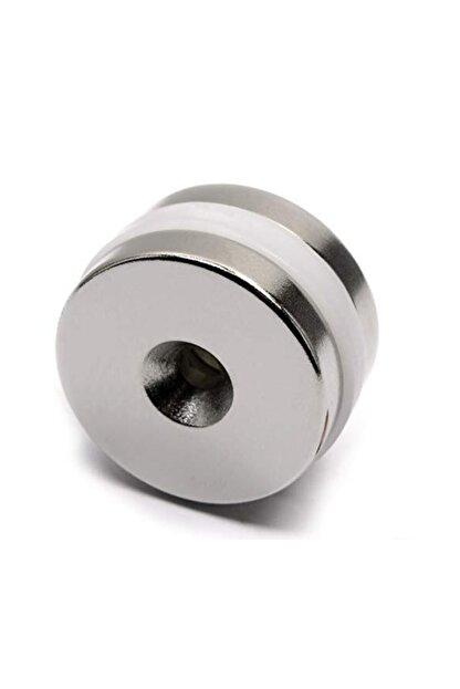 Dünya Magnet 2 ADET MIKNATIS, D25X10/5,5X5mm VİDA ATILABİLİR HAVŞA DELİKLİ GÜÇLÜ NEODYUM MIKNATIS