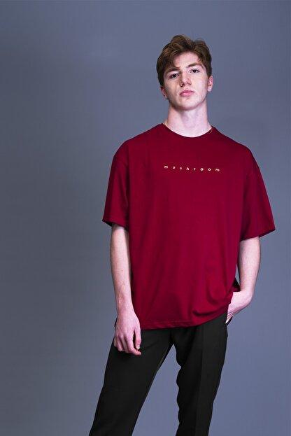 Mushroom Apparel Erkek Bordo Nakışlı Oversize T-shirt