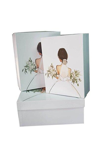 Ceyyiz 3'lü Gelin Figürlü Beyaz Gelin Çeyiz Kutuları
