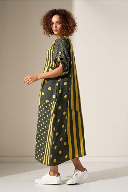 Camena Puantiye Çizgili Keten Elbise 2019070500191