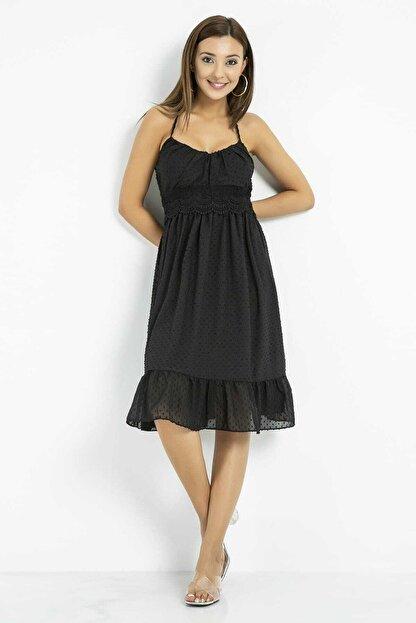 Sateen Kadın Siyah Dantelli Sırtı Açık Elbise