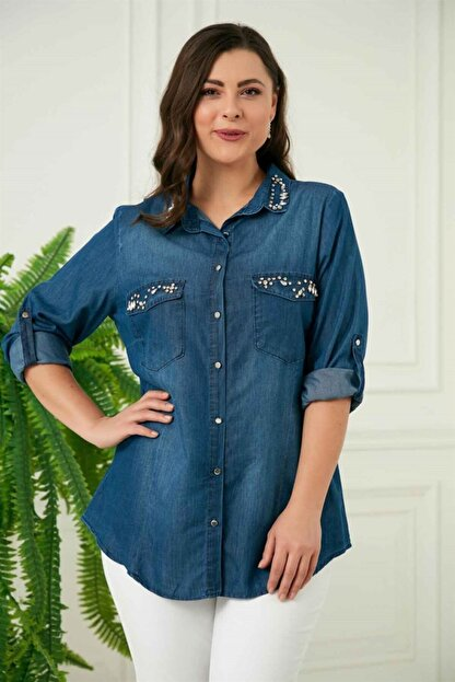 Rmg Kadın Mavi Taş Detaylı Büyük Beden Tensel Gömlek