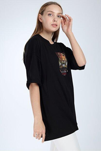 Millionaire Kadın Siyah To Wear Boring Baskılı Oversize T-Shirt