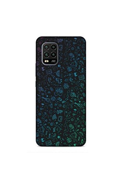 Pickcase Xiaomi Mi 10 Lite Desenli Arka Kapak Şekiller Mavi Kılıf