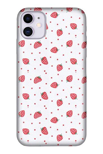 """Cekuonline Iphone 12 Mini 5.4"""" Tıpalı Kamera Korumalı Silikon Kılıf - Çilek"""