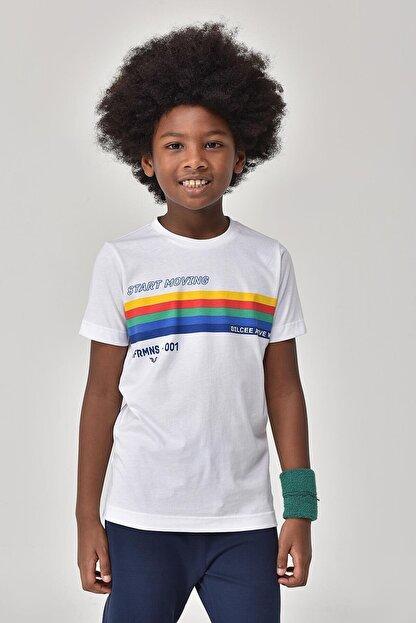 bilcee Unisex Çocuk Beyaz T-Shirt GS-8145