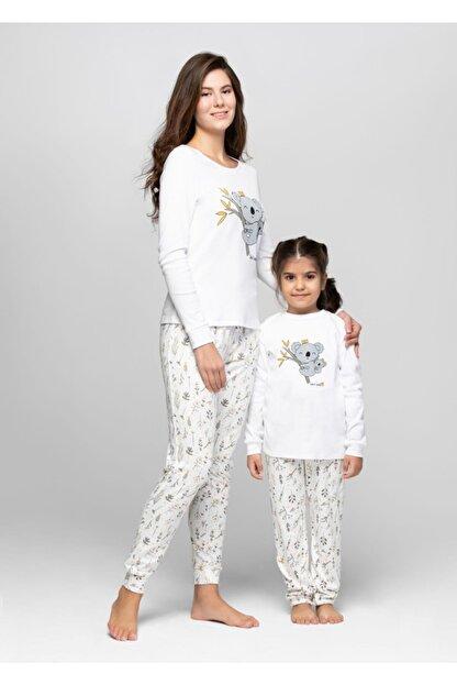 JUST BASIC Anne Kız Ekru Koala Pijama Takımı