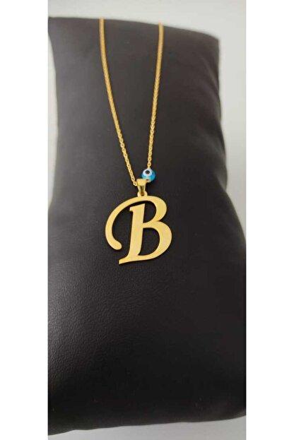 Esda Collection Altın Kaplama B Harfı Gümüş Kolye