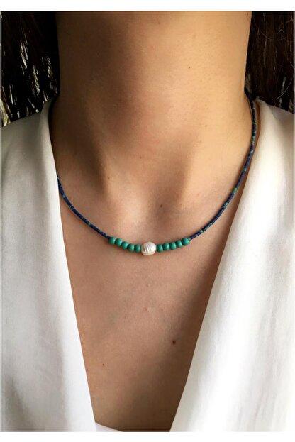 Serpil Jewellery Kadın Lacivert Kırçıllı Afgan Boncuklu Turkuaz Ve Gerçek Incili Doğaltaş Tasarım Kolye