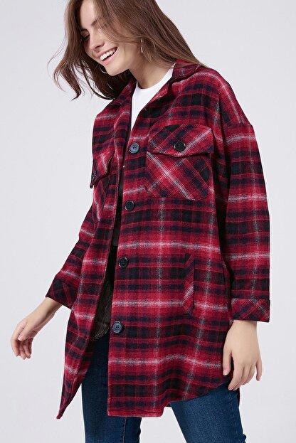 Y-London Kadın Kırmızı Ekoseli Uzun Oduncu Gömlek Ceket Y20W176-11228-1