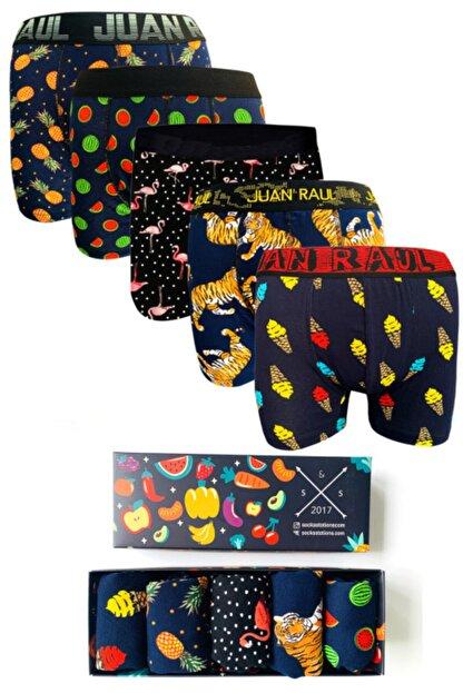 Socks Stations 5'li Boxer Kutusu Renkli Desenli Pamuk Boxer Kutusu