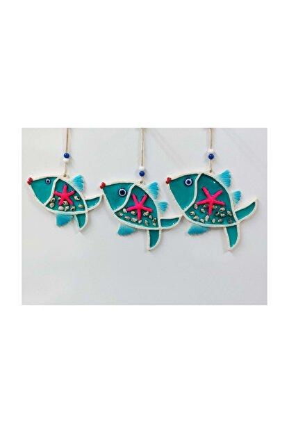 SUME Deniz Kabuğu Süslemeli 3'lü Balık Duvar Süsü Nazarlık