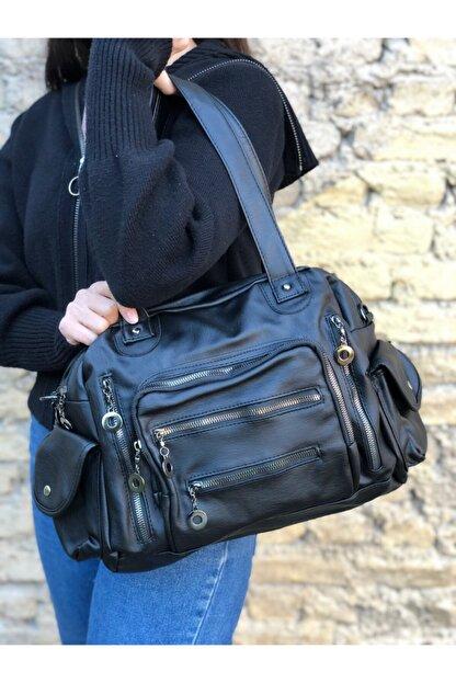 Lebina Siyah Bol Gözlü Yıkanmış Deri Çanta