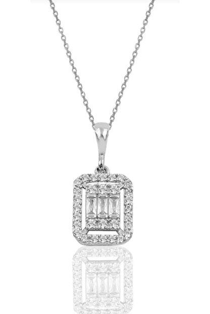 esjewelry Gümüş Baget Taşlı Kadın Gümüş Kolye