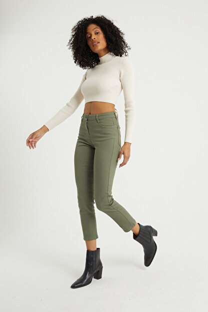 BOSHETTI Haki Yüksek Bel Mom Comfort Slim Fit Jeans
