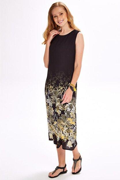 İkiler Kadın Siyah Eteği Desenli Kolsuz Uzun Elbise 020-4020