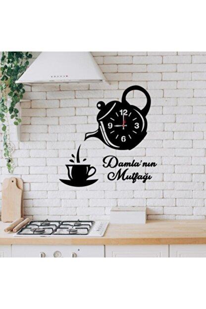 Botsa Hediyelik Ahşap Kisiye Özel Çaydanlik Tasarimli Ahsap Mutfak Saati
