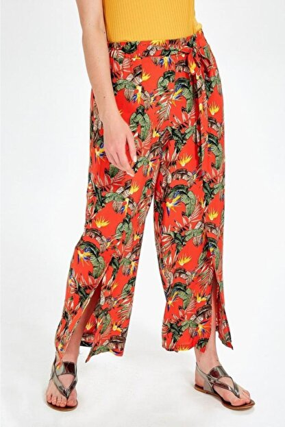 İkiler Kadın Turuncu Beli Lastikli Desenli Pantolon 019-03-3526