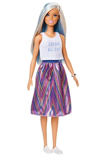 Barbie Fashionistas Bebek ve Aksesuarları Çizgili Renkli Etekli FXL53-FBR37