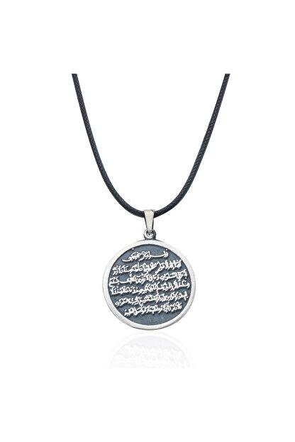 Gümüş Pazarım Ayet- El Kürsi Yazılı Gümüş Erkek Kolye