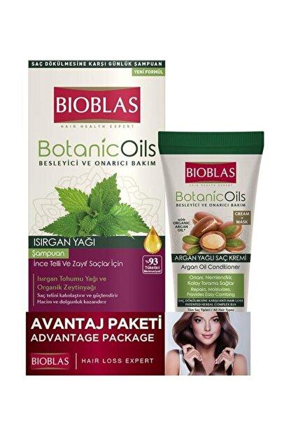 Bioblas Isırgan Yağ Şampuan 360 ml + Argan Yağı Saç Kremi Maske 200 ml