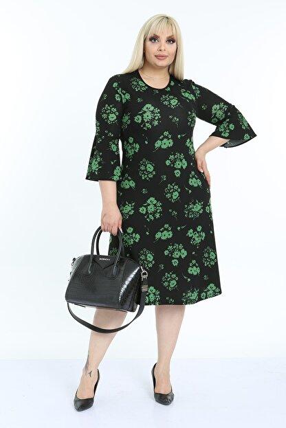 1fazlası Kadın Büyük Beden Volan Kol Krep Kumaş Elbise