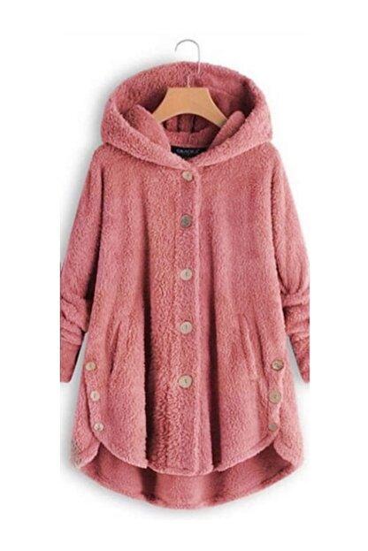 ELBİSENN Yeni Model Kadın Polar Düğme Detay Kapşonlu Wellsoft Ceket (Pembe)