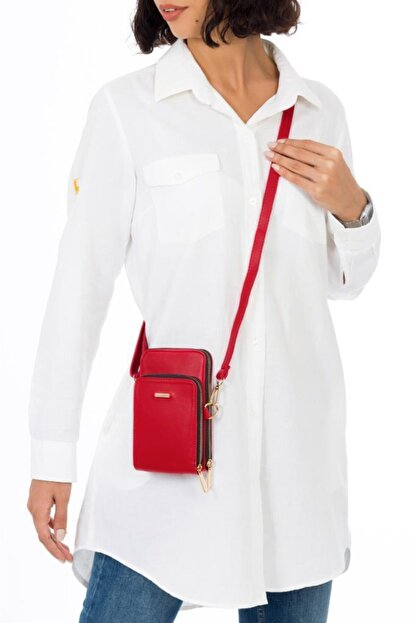Espardile Kadın Kırmızı Telefon Bölmeli Omuz Çantası