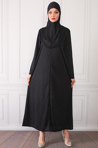 Feyza Fashion Fermuarlı Tek Parça Pratik Giyimli Namaz Elbisesi Siyah