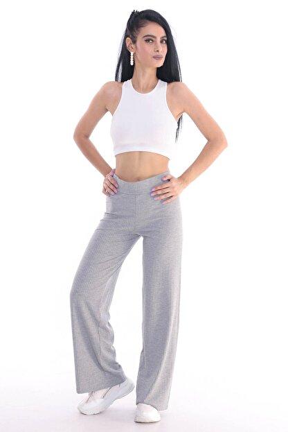 ALL TIME Kadın Gri Kaşkorse Fitilli Örme Pantolon