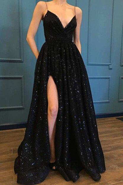 SELİN MODA EVİ Kadın Siyah Trend Pulpayet Uzun Abiye Elbise
