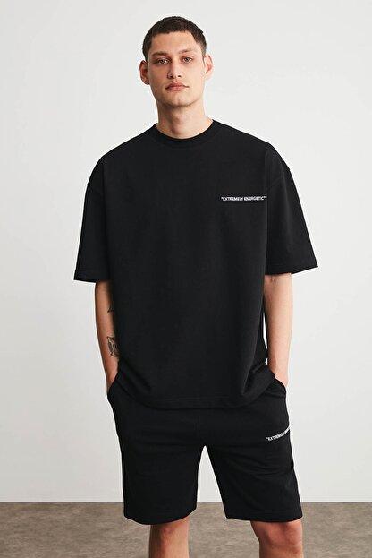 GRIMELANGE COLOMBIA Erkek Siyah Renk Şort T-shirt Eşofman Takımı