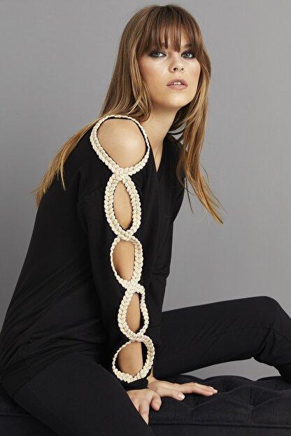 Cool & Sexy Kadın Siyah Kol Detaylı Sweatshirt BK1062