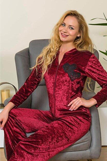 LİNGABOOMS 1523 Kadın Pijama Kadife Kalpli Fermuar Eşofman Takım