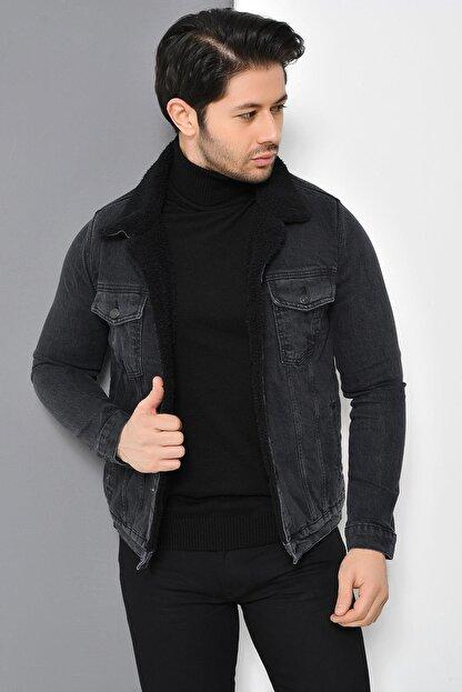 Tena Moda Erkek Antrasit Kürklü Kot Mont Ceket