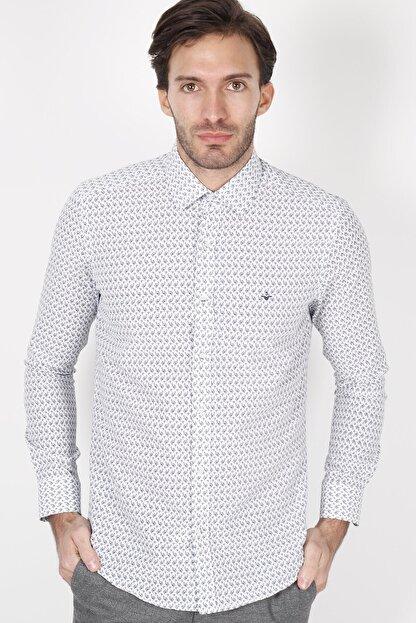 Jakamen Beyaz Slim Fit Cepsiz Desenli Gömlek