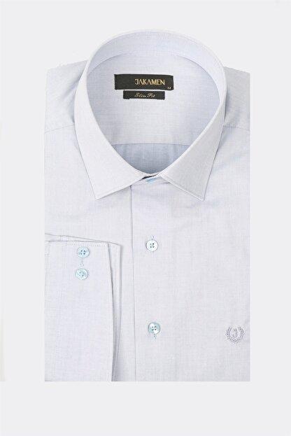 Jakamen Mavi Slim Fit Cepsiz Desenli Gömlek