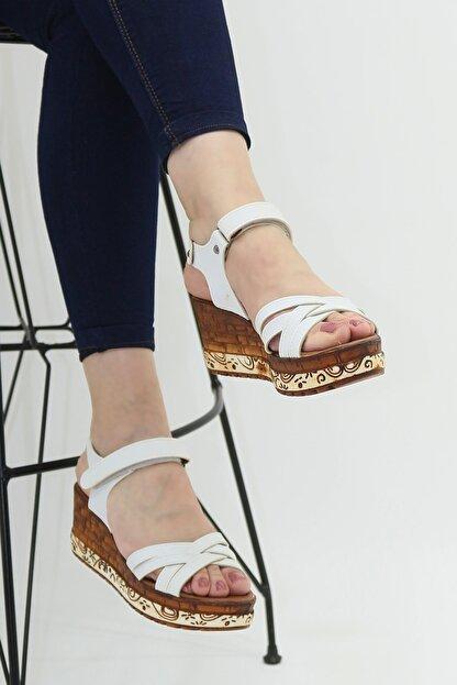 Ayax 714002 Beyaz Kadın Sandalet