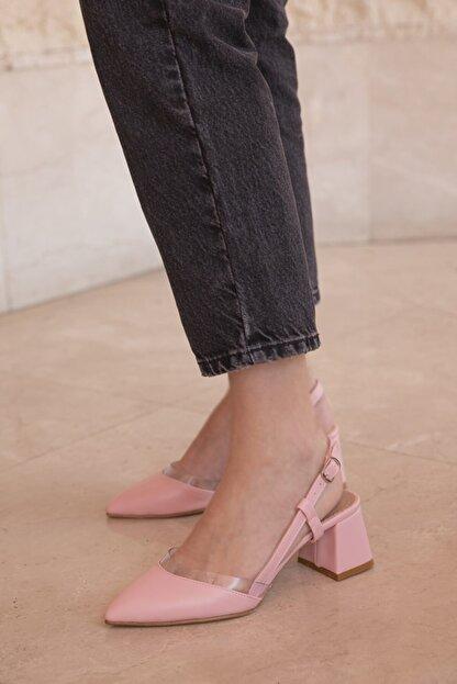 Straswans Roy Bayan Deri Topuklu Ayakkabı Pudra