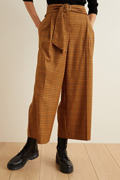 adL Kadın Tarçın Beli Kuşaklı Bol Ekose Pantolon