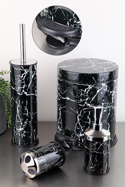 vipgross Vıpgross 4 Lü Metal Banyo Seti Siyah