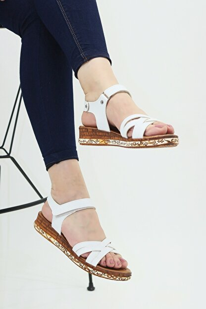 Ayax 614002 Beyaz Kadın Sandalet