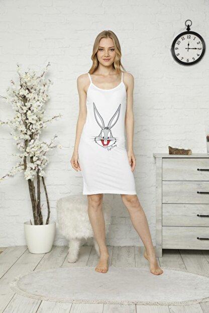 Tena Moda Kadın Beyaz Ip Askılı Bugs Bunny Baskılı Gecelik Pijama
