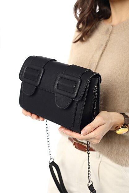 Madamra Aynı Butikte 2. Ürün 1 TL Siyah Süet Kadın Kemerli Kapaklı Kutu Omuz Çantası