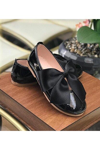 Riccotarz Kız Çocuk Siyah  Kurdaleli Rugan Babet Ayakkabı