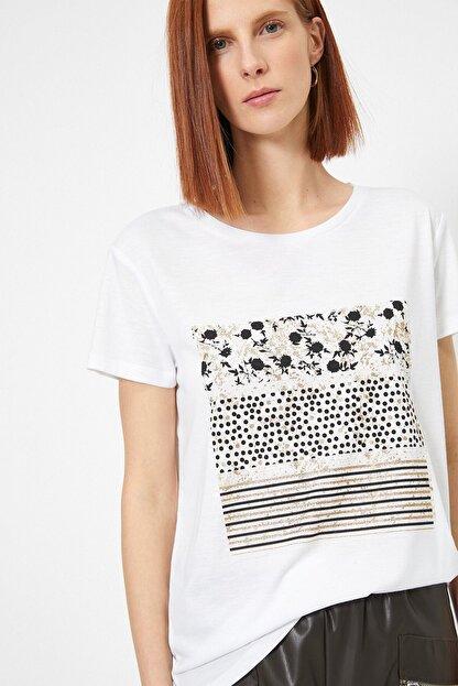 Koton Kadın Ekru Baskili T-shirt 0yak13740ek