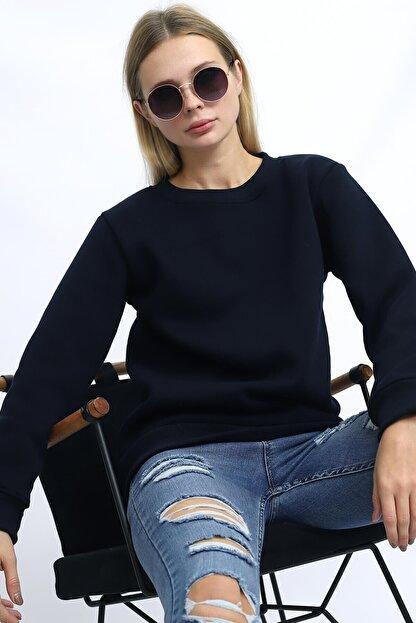 Deafox Lacivert Kadın Üç Iplik Sweatshirt