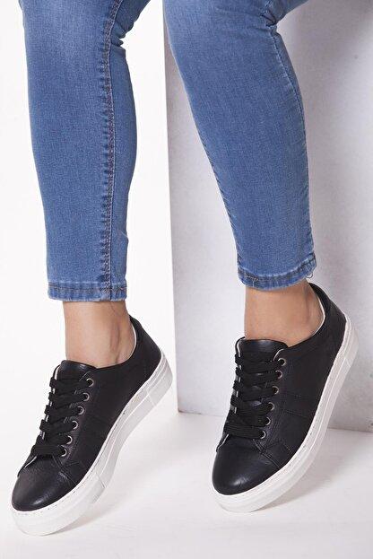Deripabuc Hakiki Deri Siyah Kadın Deri Sneaker Trc-0686