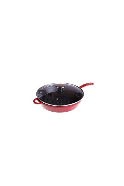 Taşev T1864 Caste Cam Kapaklı Tava Kırmızı