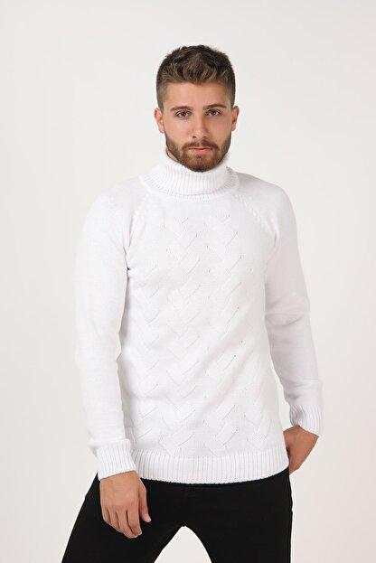 Tena Moda Erkek Beyaz Balıkçı Boğazlı Yaka Reglan Kol Normal Fit Triko Kazak